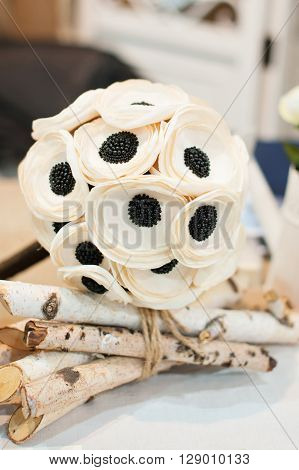 white bride's bouquet to the wedding decor on ceremony.