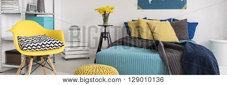 Yellow And Turquoise Bedroom Design