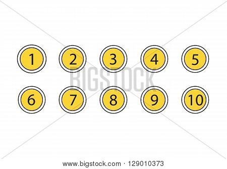 Numbers set icons isolated on white background. Number in the yellow circles