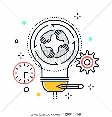 Light bulb and team work concept illustration icon background and graphics. The illustration is colorful flat vector pixel perfect suitable for web and print. It is linear stokes and fills.