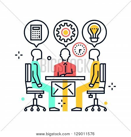 Meeting concept illustration icon background and graphics. The illustration is colorful flat vector pixel perfect suitable for web and print. It is linear stokes and fills.