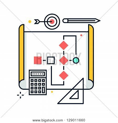 Workflow process concept illustration icon background and graphics. The illustration is colorful flat vector pixel perfect suitable for web and print. It is linear stokes and fills.