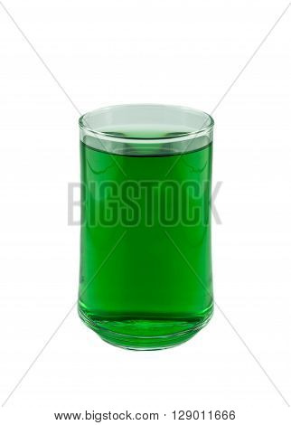 chlorophyll in glass isolated on white background