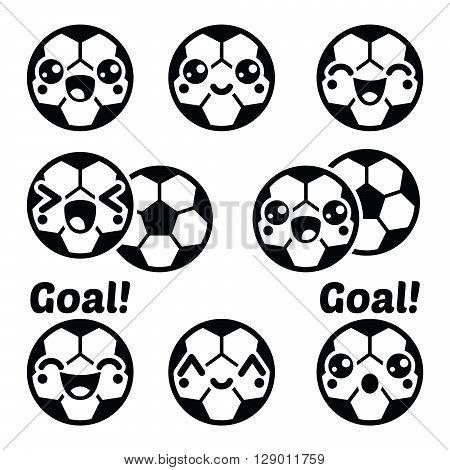 Kawaii football or soccer ball - cute character icons set