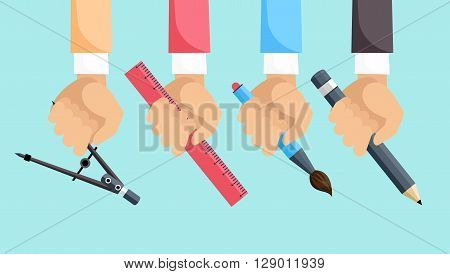 Set of hands with tools for design. Architect designer for project drawings. Architect hands with pencil and ruler. Architects workplace. Technical project.