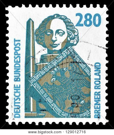 GERMANY - CIRCA 1988 : Cancelled postage stamp printed by Germany, that shows Roland column in Bremen.