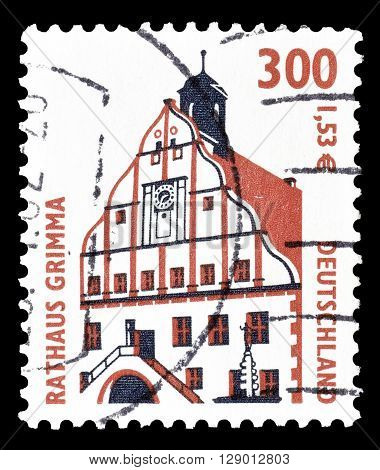 GERMANY - CIRCA 2000 : Cancelled postage stamp printed by Germany, that shows Town hall in Grimma.
