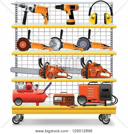 Vector Supermarket Shelves with Tools isolated on white background