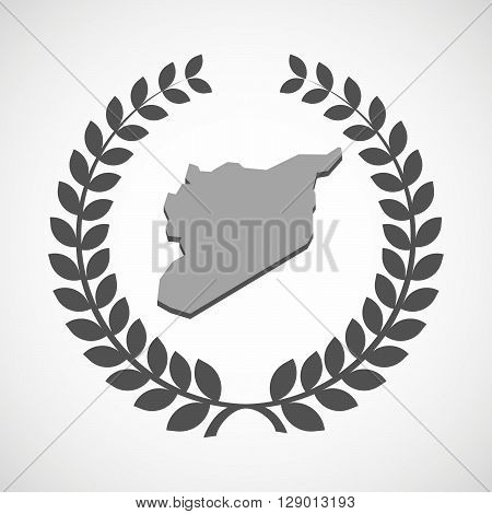 Isolated Laurel Wreath Icon With  The Map Of Syria