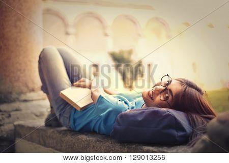 Student doing a break