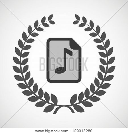 Isolated Laurel Wreath Icon With  A Music Score Icon