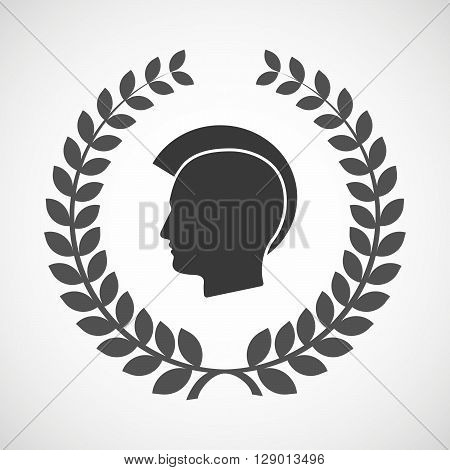 Isolated Laurel Wreath Icon With  A Male Punk Head Silhouette