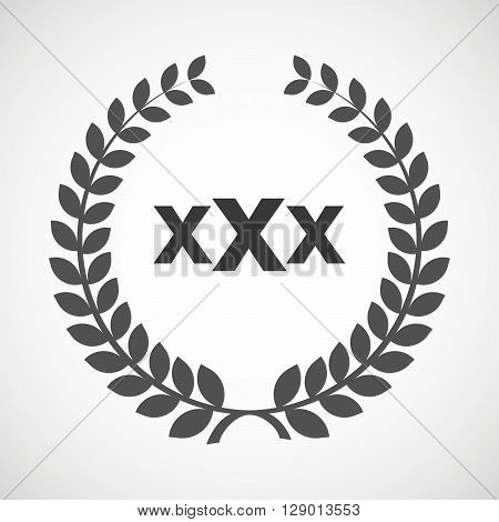 Isolated Laurel Wreath Icon With  A Xxx Letter Icon