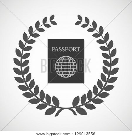 Isolated Laurel Wreath Icon With  A Passport