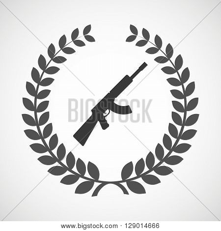 Isolated Laurel Wreath Icon With  A Machine Gun Sign