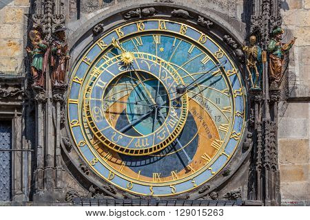 The Prague astronomical clock, or Prague orloj in Prague, Czech Republic. Full dial