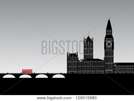 London. The building in London, the bridge and the red bus