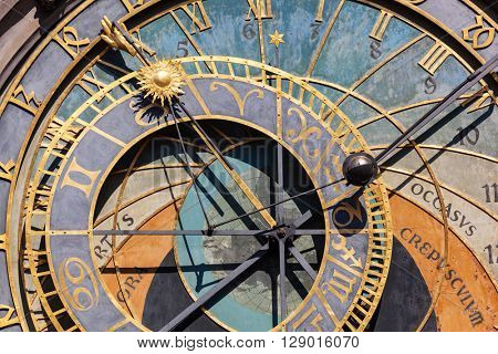 The Prague astronomical clock, or Prague orloj in Prague, Czech Republic. Close up.