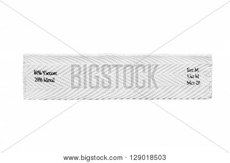 Fabric composition clothes label on white background