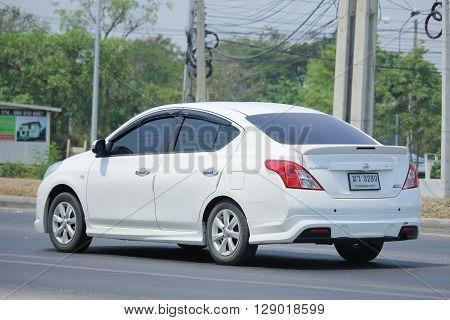CHIANGMAI THAILAND -APRIL 25 2016: Private Eco car Nissan Almera. On road no.1001 8 km from Chiangmai city.