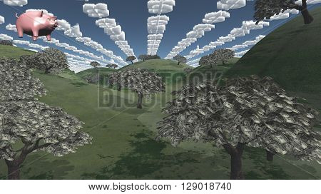 Tress of currency and dollar symbol clouds 3D Render