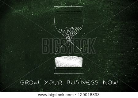 Coins Disappearing Into Sand Into An Hourglass, Grow Your Business Now