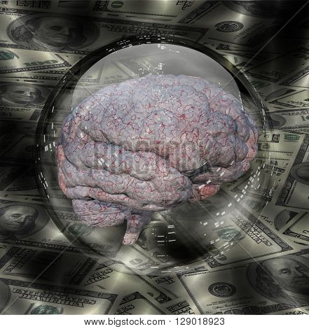 Human Brain with Currency Background 3D Render