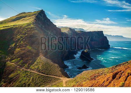majestic view of the cliffs at Ponta de Sao Lourenco Madeira Portugal
