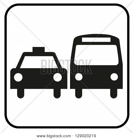 a black and white pictogram for vehicles