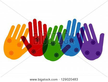 hands of color of a rainbow. Color hands and flowers on a white background