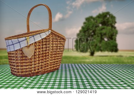 Picnic Basket On The Green Checkered Tablecloth And Summer Landscape