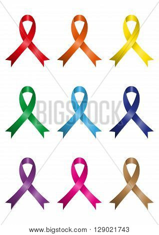 Different kins of awareness ribbons isolated on white background