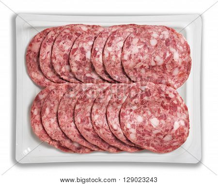 Tray Packaged of Presliced cooked salami top view