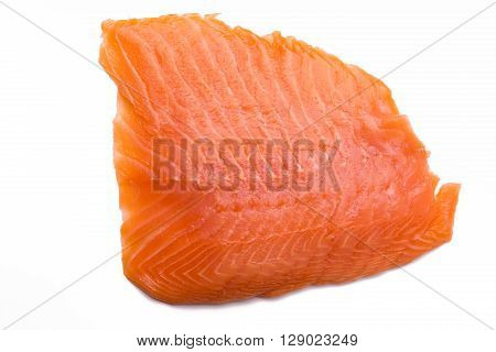 Salmon fillet isolated on white background close-up top view