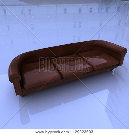 Leather Sofa, 3D