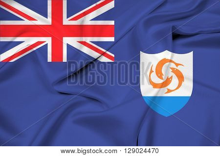 Waving Flag of Anguilla, with beautiful satin background.