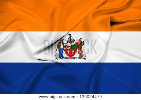 Waving Flag of Albany New York, with beautiful satin background.