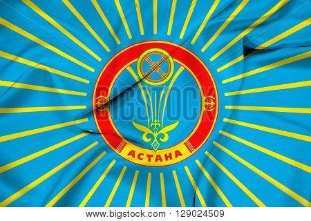 Waving Flag of Astana, with beautiful satin background.