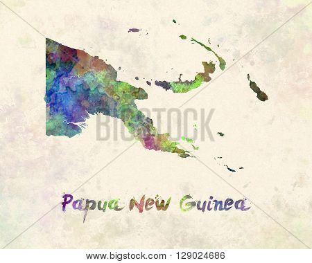 Papua New Guinea map in artistic abstract watercolor background