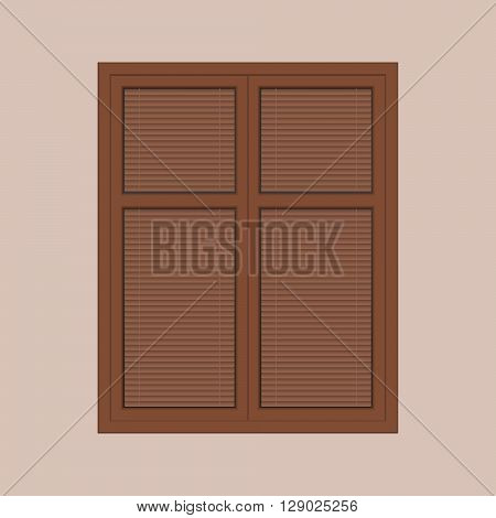 vector closed brown window with the louver