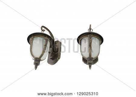 Antique lamps of vintage style isolated on white background and have clipping paths.