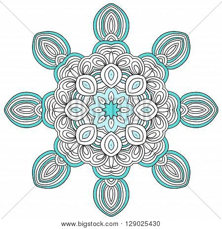 Round uncolored element foe adult coloring book. Mandala