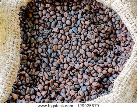 Sack of coffee beans prepared as raw materials.