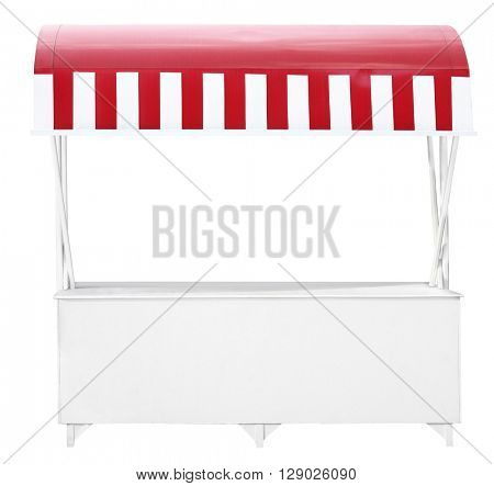 White market stall with red striped awning