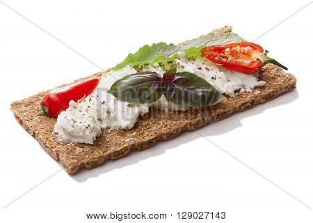 Bread Crisp With Pepper,soft  Cheese And Basil