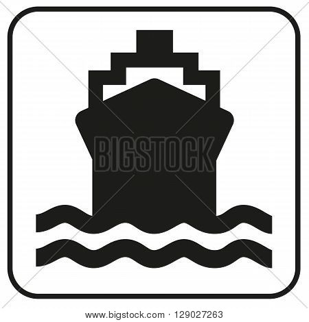 a black and white pictogram on a ship and the marine