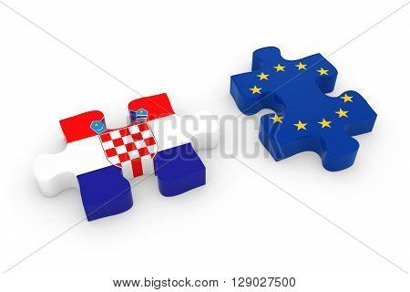 Croatia And Eu Puzzle Pieces - Croatian And European Flag Jigsaw 3D Illustration