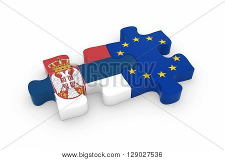 Serbia And Eu Puzzle Pieces - Serbian And European Flag Jigsaw 3D Illustration