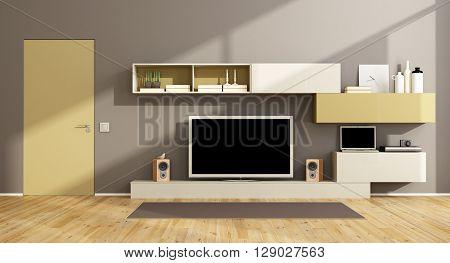 Modern Living Room With Tv Set