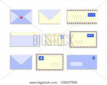 Snail mail letters envelopes flat style set, vector illustration background